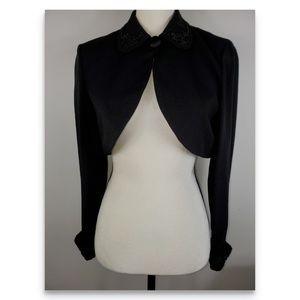 Donna Ricco Black Beaded Bolero Jacket PS